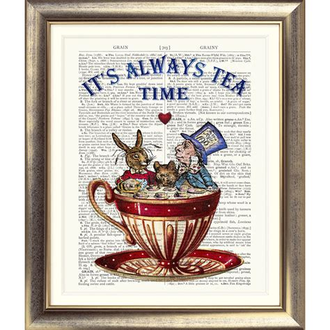 Direct Selling Home Decor art print on original antique book page mad hatter tea