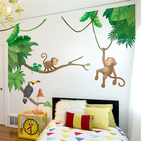 jungle stickers for walls jungle monkey children s wall sticker set by oakdene