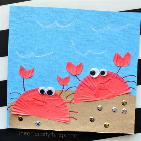 summer craft ideas for to make cupcake liner crab craft for i crafty things