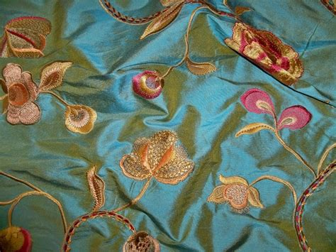 how to embroider on fabric stroheim harlow floral embroidery silk fabric pacific blue