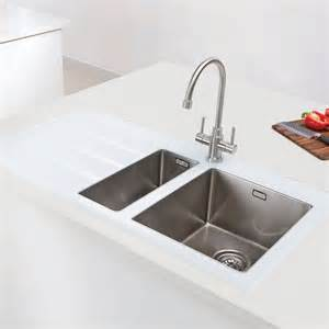 glass sinks for kitchens caple vitrea one and a half bowl glass and stainless steel