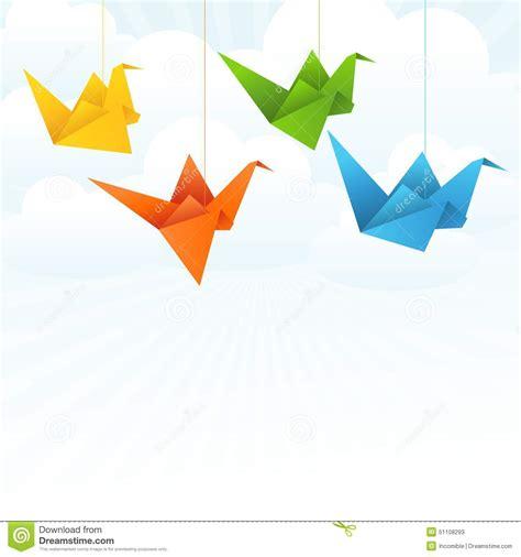 origami flying bird origami paper birds flight abstract background stock