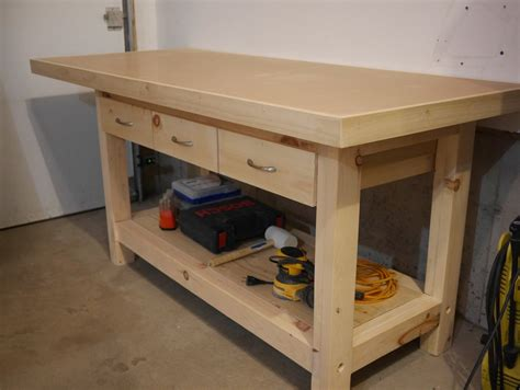woodworking workbench top workbench with plywood and hardboard top by benoitm