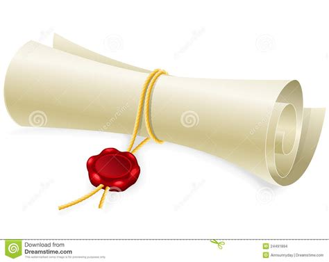 sealing paper scroll paper with seal of sealing wax stock images image