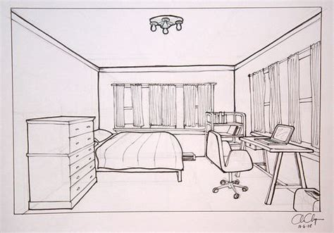 how to draw a bedroom homework one point perspective room drawing ms chang s
