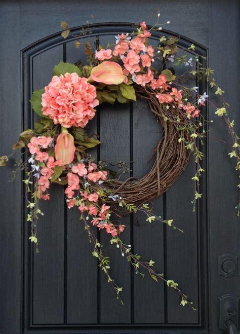 door wreaths wreath summer wreath floral white green branches