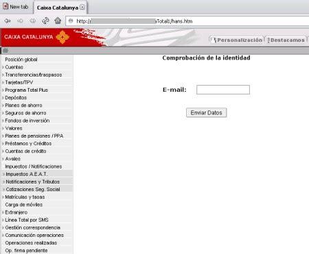 www caixacatalunya es banca online ataque masivo de phishing que afecta a la caixa de catalunya