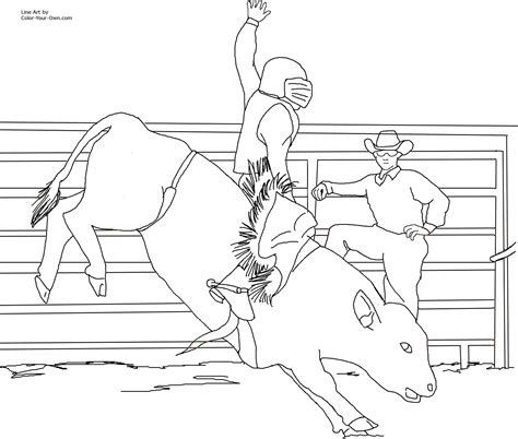 free bull rodeo coloring pages