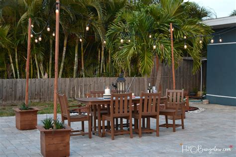 patio outdoor lights diy outdoor string lights on poles h20bungalow
