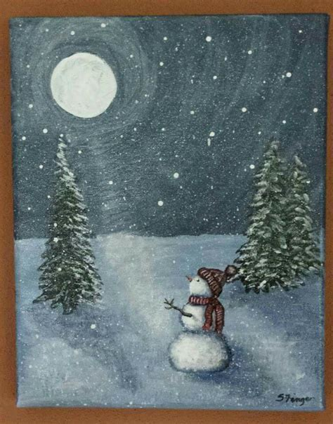 paint nite winter moonstruck snowman acrylic painting worked on smaller
