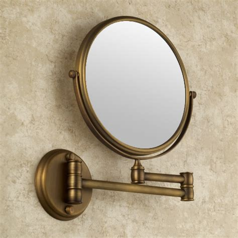 wall mounted magnifying mirrors for bathrooms antique brass finish wall mounted bathroom magnifying