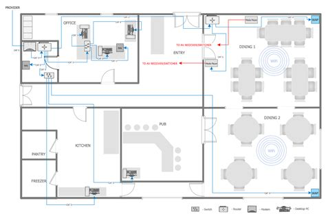 How To Draw A Floor Plan On The Computer network layout floor plans office wireless network plan