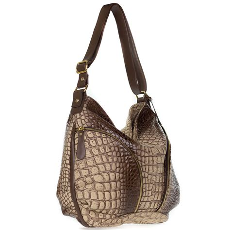 croc embossed leather handbags giordano italian made brown croc embossed leather large hobo bag with pockets