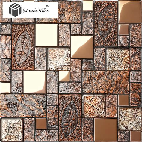 wall tile deco mosaic art fossil leaf resin glass foil porcelain stone look kitchen wall back
