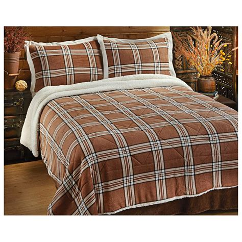sherpa comforter set castlecreek 174 plaid sherpa comforter set 300173