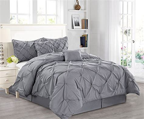 pinch pleat comforter set 7 pieces luxury solid grey pinch pleat stripe comforter
