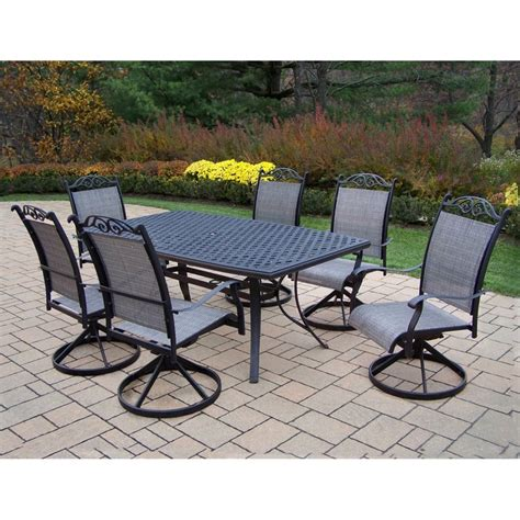 patio 7 dining set shop oakland living cascade sling 7 dining patio