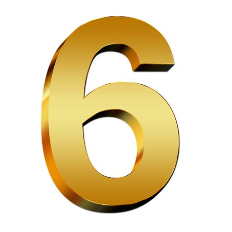 number six free illustration pay gold six number digit 3d
