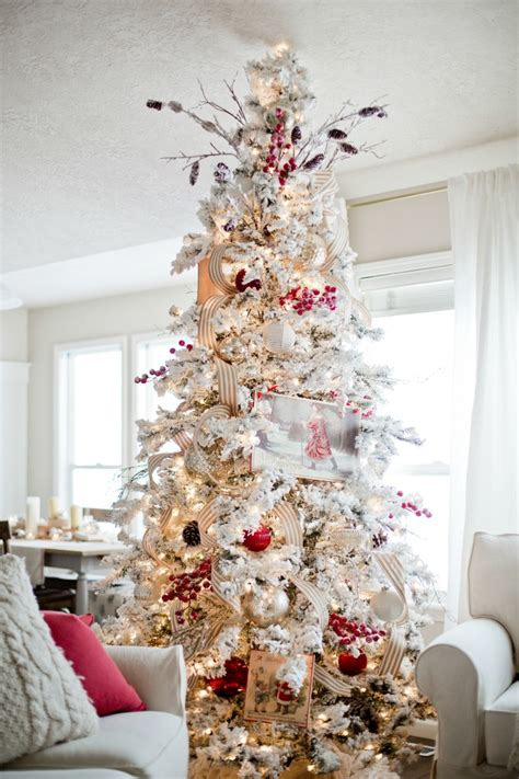 decorating a white flocked tree how to decorate a tree ella