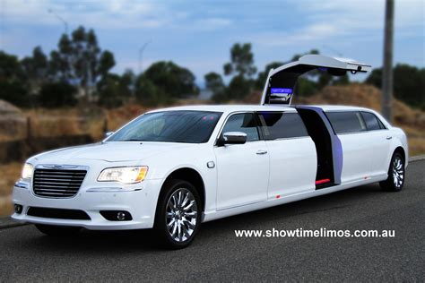 Chrysler Limo by Showtime Limousines Hire Perth White Jet Door Chrysler