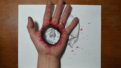 cool 3d trick art bullet hole in hand youtube