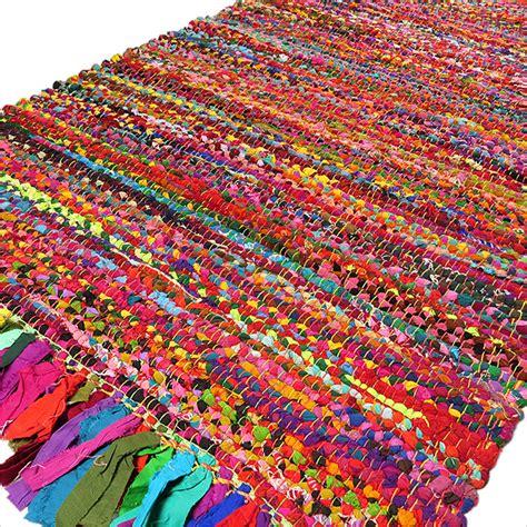 colorful rug bright colorful decorative chindi bohemian boho rag rug