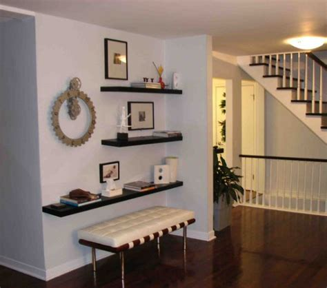 entryway shelves simple functional and space saving floating wall shelving