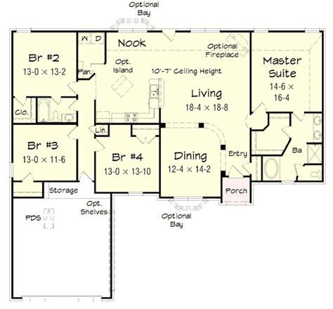 4 bedroom ranch floor plans 4 bedroom brick ranch home plan 68019hr 1st floor master suite cad available pdf ranch