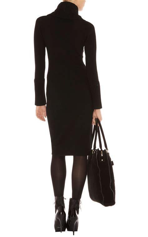 knit black dress millen twisted cable knit dress in black lyst