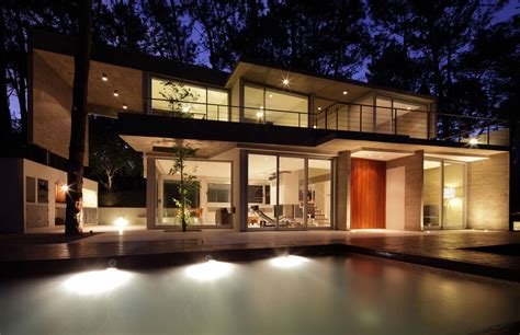 house lights to evening lighting modern concrete house in caril 243 argentina