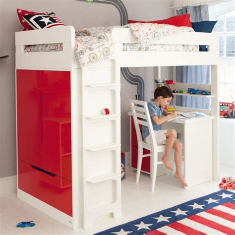 boy bunk beds lively colorful boys room space saving bunk bed designs