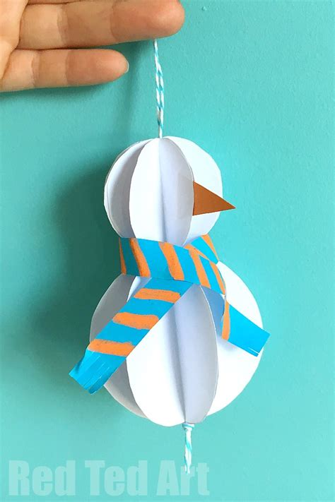 paper craft ornaments easy paper snowman ornaments ted s