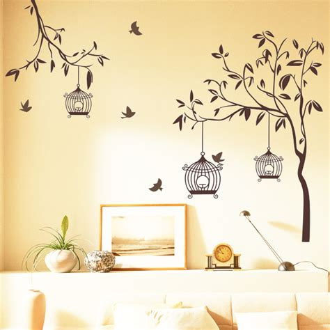 wall decor tree stickers happy lights birds with tree wall sticker