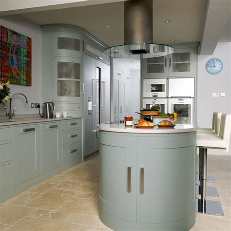 kitchen island extractor hoods extractor step inside this muted blue and stainless steel kitchen housetohome co uk