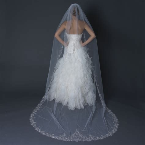 beaded cathedral veil single layer cathedral length scalloped edge veil with