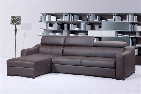 leather sectional sofa with sleeper chocolate brown italian leather modern sleeper sectional sofa