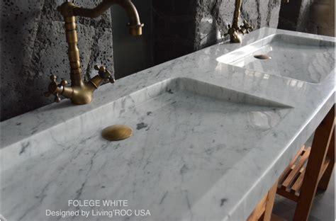 63 double white carrara marble trough bathroom sink