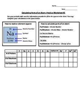 Calculating Protons Neutrons And Electrons Worksheet by Calculating Parts Of An Atom Practice Worksheet 1 By