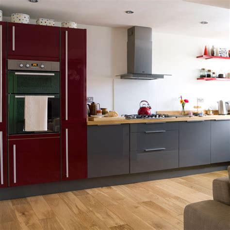 Colors For Kitchen Walls With Oak Cabinets red and grey modern kitchen modern decorating ideas