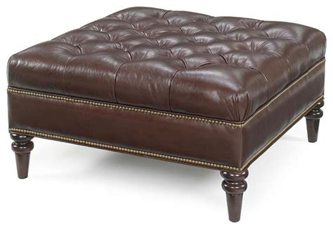 leather ottomans oxford tufted square leather ottoman traditional