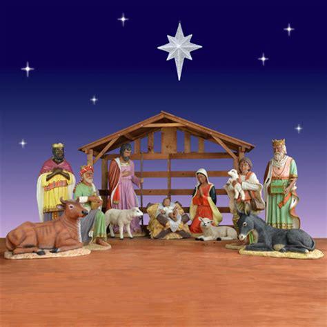 indoor nativity set with stable nativity and decor christmasnightinc