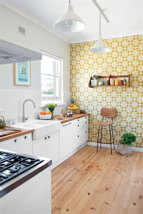 wallpaper in kitchen ideas decorating with retro wallpaper 32 eye catchy ideas