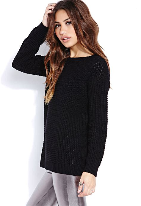 knitted sweaters forever 21 forever 21 favorite waffle knit sweater you ve been added