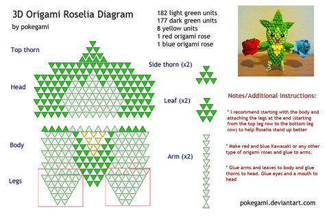 3d origami diagram 3d origami roselia diagram by pokegami on deviantart