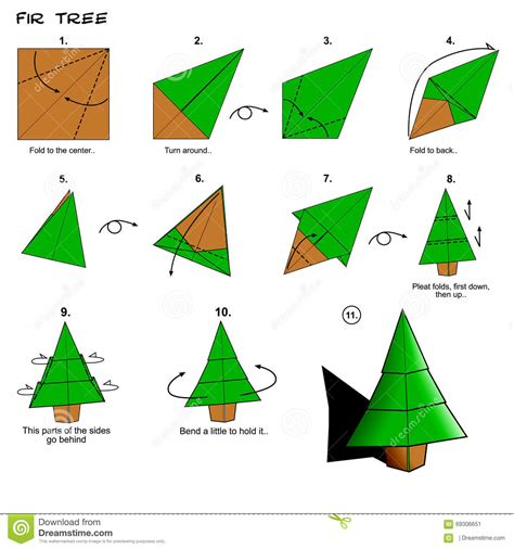 origami tree step by step origami tree steps stock illustration image 69306651