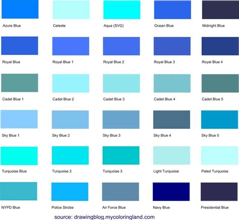 list of green colors different shades of blue a list with color names and
