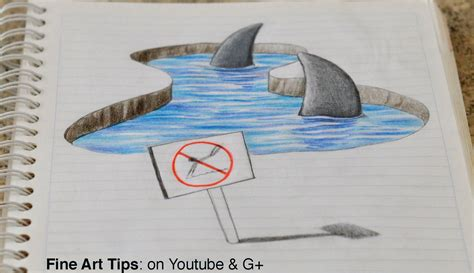 how to draw 3d drawing 3d sharks on my notebook 3d anamorphic drawing