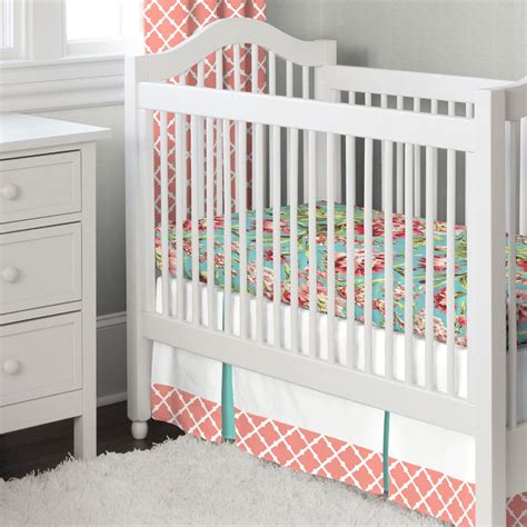 teal crib bedding sets light coral and teal lattice 3 crib bedding set
