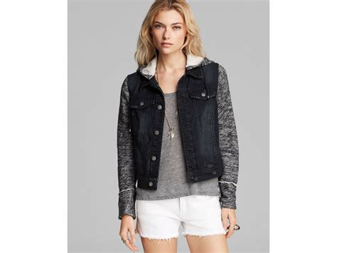 free knit hooded denim jacket free jacket denim and knit hooded in black lyst