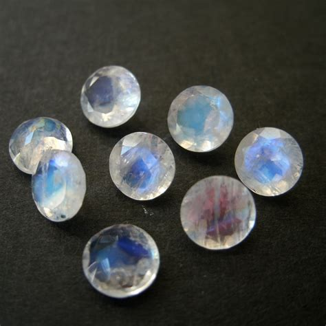 faceted gemstone faceted gemstones rainbow moonstone brilliant cut 5mm for one